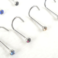 Tiny Nose Stud Gemstone CZ Nose Ring Piercing 22 Gauge (0.6mm) Body Jewelry 316L Surgical Steel 10 Colors