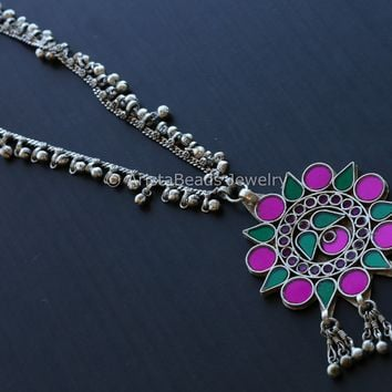 Pink Green Glass Ghungroo Necklace