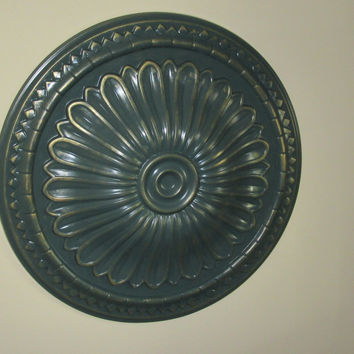 "Antiqued Ceiling or Wall Medallion, 15"" Ceiling Medallion, Ornate Medallion, ceiling medallion"