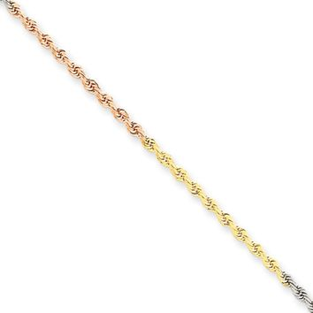 1.8mm 14k Tri-Color Gold Diamond Cut Solid Rope Chain Necklace, 18 In.
