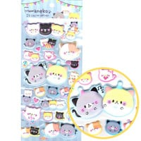 Kawaii Super Chubby Kitty Cat Shaped Animal Puffy Stickers from Japan | Cute Animal Themed Scrapbook Decorating Supplies