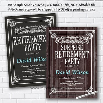 Retirement Invitations, Retirement party Invitation, Retirement Celebration retro vintage Invite, chalkboard blackboard design- card 581