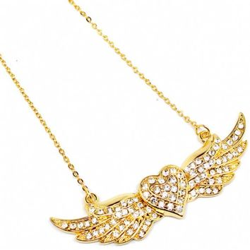 Teah's Gold Heart with Wings Necklace