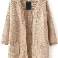 Khaki Knitted Long Sleeve Cardigan with Pocket