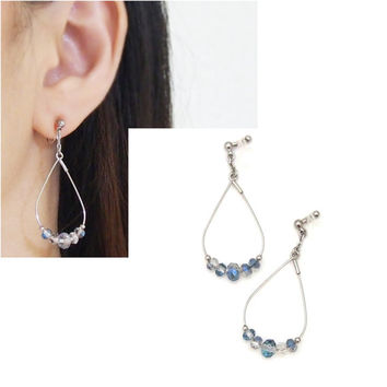 Pierced Look! Silver tone Dangle Hoop Blue Crystal Invisible Clip on Earrings,Non Pierced Crystal Earrings,Wedding Crystal Clip-on Earrings