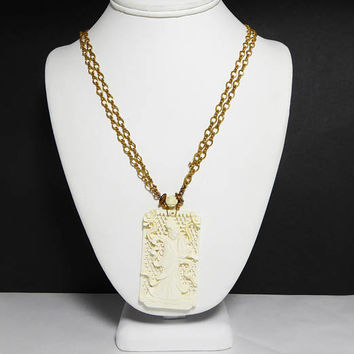 White Asian Woman Pendant Necklace - Signed Miriam Haskell - Carved Ox Bone Garden Scene - Gold Tone Chain - Rose Bead Bail - Vintage 1970's