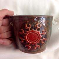 Tribal Sun wheel thrown Ceramic 12 oz Mug