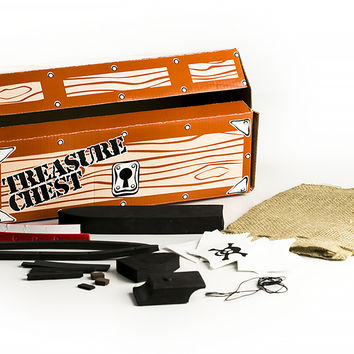 Foam Pirate Ship and Cardboard Treasure Chest Set