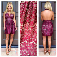 Shania Lace Halter Dress - MERLOT
