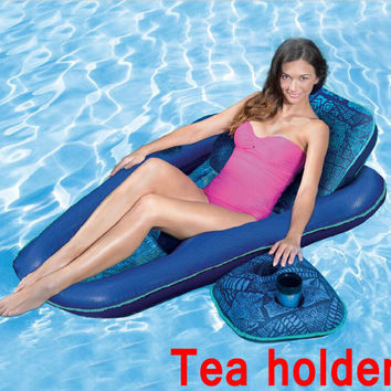 Quick dry 28inch x 61inch relax water row float bean bag sofa,portable swimming beanbag chair,pillow with cup holder reclinersac
