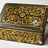 Vintage tin box flowers ornament black and gold by SovietEra