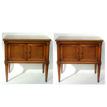 Nightstands Pair Night Stands 2 Company End Tables Contemporary Design Cherry Wood Cabinets Vintage Antiques Table Bedroom Furniture Bedside