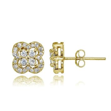 Four Leaf Clover Cubic Zirconia Stud Earrings in Gold Plated Sterling Silver