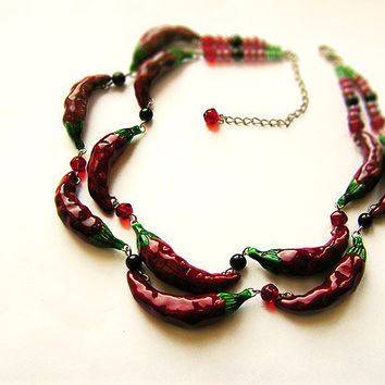 Garnet Deep Red Chilly Peppers Necklace handmade, vegetables jewelry