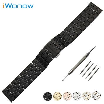 Stainless Steel Watch Band 18mm 20mm 22mm for Fossil Butterfly Buckle Strap Wrist Belt Bracelet Black Silver + Spring Bar