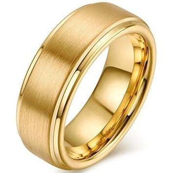 8mm Tungsten Carbide Metal Ring Gold Wedding Engagement Band Matte Finish