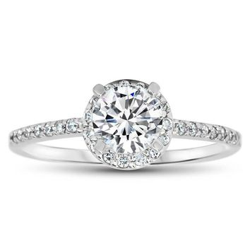 Dainty Diamond Engagement Ring Forever One Moissanite Center - Mindy