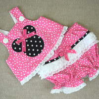 Pink Minnie Mouse outfit - baby girl birthday - ruffle diaper cover - 2 piece outfit baby - white eyelet ruffle - ready to ship size 6m-9m