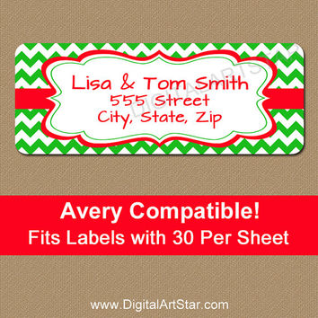 Printable Christmas Address Stickers - Green Chevron Holiday Return Address Labels - Personalized Xmas Address Labels - Avery Compatible