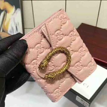 GUCCI Fashion New style more letter print wallet bag Pink