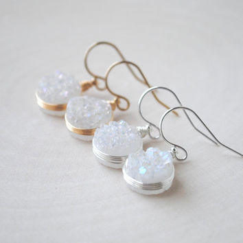 Mystic White Druzy Earrings in Sterling Silver or Gold Fill, White Druzy Jewelry, Druzy Earrings