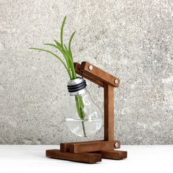 Zeta, upcycled bulb vase recycled lightbulb wood stand adjustable for plants airplant dried flowers and decoration office decor, Paladim
