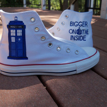 Custom Painted Doctor Who Tardis Shoes by LindseyRosesDesign