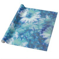 Blue Daisy Flower Wrapping Paper
