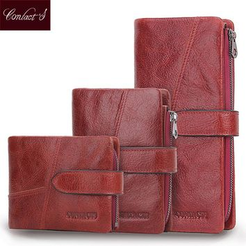 Contact's 2017 Genuine Leather Women Wallet 9 Style Long Purse Vintage Solid Cowhide Cards Holder Hand Bag Fashion Clutch Wallet