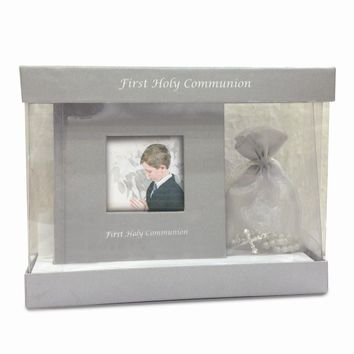 Grey or White First Communion Photo Book & Rosary Set