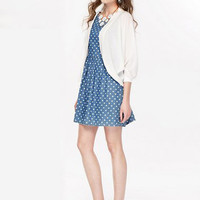 Blue Polka Dot Sleeveless High Waist  Denim Pleated Mini Dress