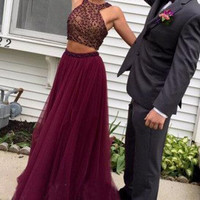 Two Piece A-Line Beading Prom Dresses,Prom Dress
