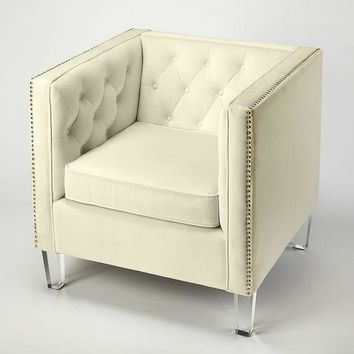 Butler Janelle White Velvet Accent Chair