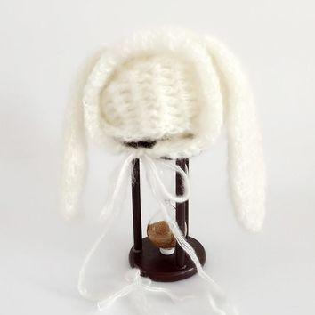 Mohair Newborn bunny hat photography easter rabbit newborn bunny bonnet photo prop newborn beanies