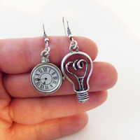 FREE SHIPPING Steampunk earrings, mismatched earrings, dangle earrings, charm earrings, silver earrings, clock earrings, light bulb earrings