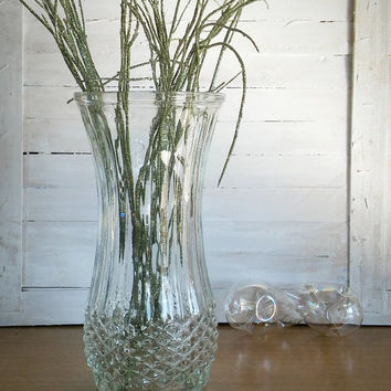 Vintage Hoosier Diamond Point Vase, Pressed Glass Vase Diamond Quilt Pattern