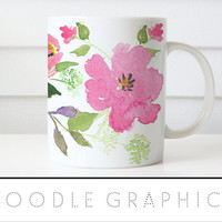 Floral Watercolor Mug Coffee Mug  Doodle Graphics Floral Coffee Cup Floral Mug Coffee Gift for Her Pink Flowers Birthday Gift for Friend