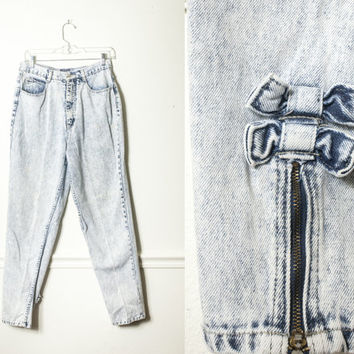 Vintage Acid Washed Jeans with Ankle BOWS / High Waisted Jeans 90s Jeans 80s Jeans Grunge 80s Denim Skinny Jeans Mom Jeans Preppy Jeans