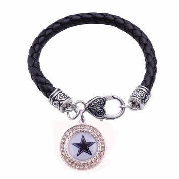 Dallas Cowboys Raiders Detroit Tigers Penguins Patriots Red Wings Leather bracelet Metal Dancing Art Lobster Claw Bracelets