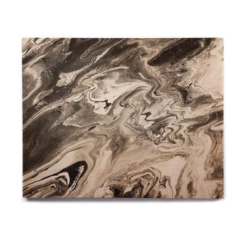 "Iris Lehnhardt ""Marble - Black White;"" Black White Abstract Pattern Painting Birchwood Wall Art"
