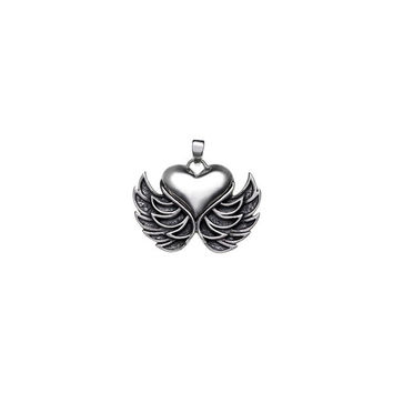 Rebel Punk Winged Heart Sterling Silver Charm