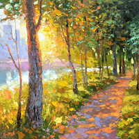 Evening alley - Oil Painting on Canvas by Dmitry Spiros, SIZE: 60x60cm, (24x24in) 2015