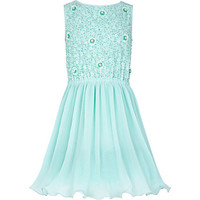Girls light green beaded prom dress