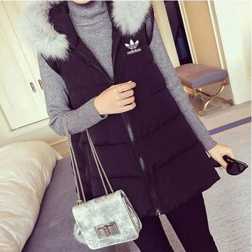 adidas women fashion hooded zip cardigan sleeveless down vest jacket coat