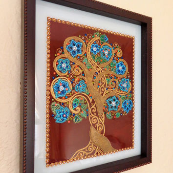 "Tree of life 11""x13"" Glass painting Point-to-point painting Bohemian decor Wall decor"