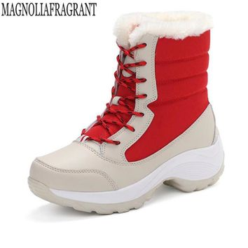 2018 New women's boots winter shoes thick plush non-slip waterproof snow boots for women platform Ski boot botas mujer k661