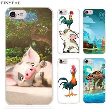 BINYEAE Waialik Moana Princess Clear Cell Phone Case Cover for Apple iPhone 4 4s 5 5s SE 5c 6 6s 7 Plus