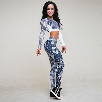 Women's Yoga/Fitness Workout Printed Tracksuit