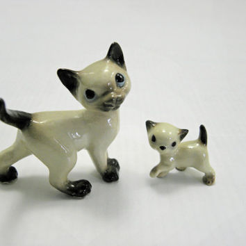 Vintage Glass Animal Small Cat and Kitten set
