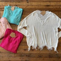 SALE! Crosby  Fringe Sweater in Mint, Light Pink, Hot Pink, and White